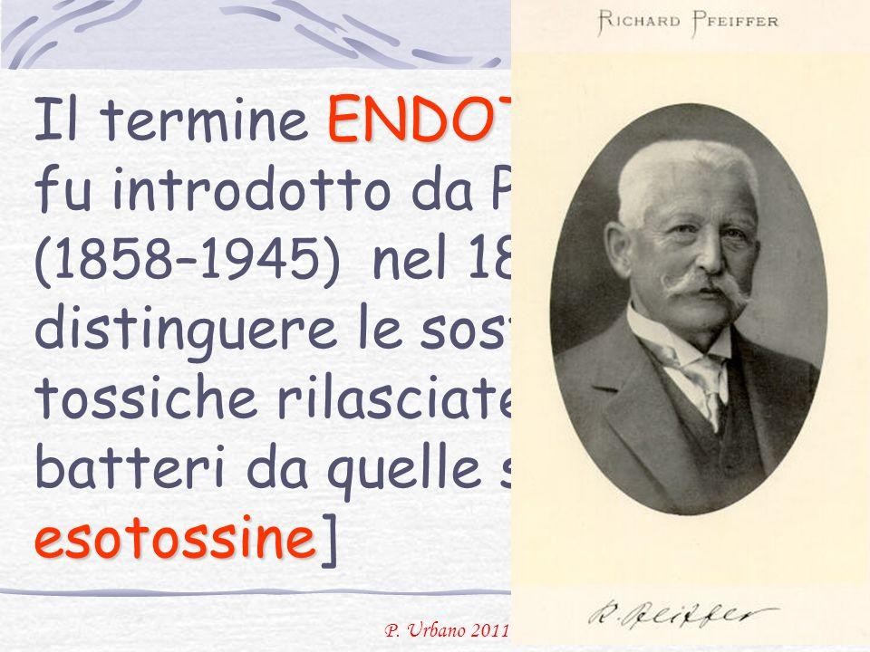 Il termine ENDOTOSSINA fu introdotto da Pfeiffer (1858–1945) nel 1893 per distinguere le sostanze tossiche rilasciate per lisi dei batteri da quelle secrete [le esotossine]